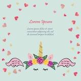 Ilustração bonito do vetor com a tiara e o chifre do unicórnio, cor-de-rosa ilustração do vetor