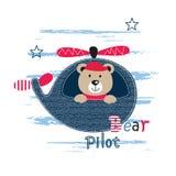 Ilustração bonito do vetor com urso piloto Fotografia de Stock Royalty Free
