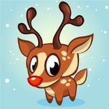 Ilustração bonito do vetor da rena do Natal no fundo branco Imagem de Stock Royalty Free