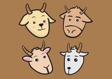 Ilustração bonito do vetor das expressões da cabra dos desenhos animados Fotografia de Stock