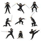 Ilustração bonito do vetor do ninja dos desenhos animados Ninjas de retrocesso e de salto isolados no fundo branco ilustração stock