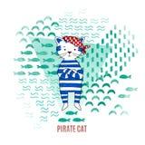 Ilustração bonito do vetor do pirata do gato imagens de stock royalty free
