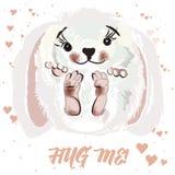 Ilustração bonito do vetor ou de ` s do Valentim cartão do dia com coelho hug ilustração do vetor