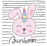 A ilustração bonito do vetor do unicórnio do coelho para crianças projeta ilustração royalty free