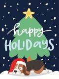 Ilustração bonito dos caráteres do cachorrinho dos desenhos animados do vetor do cartão do cão do Natal 2018 Imagens de Stock