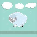 Ilustração bonito dos carneiros e das nuvens foto de stock royalty free