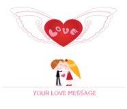 Ilustração bonito dos desenhos animados da jovem mulher e do homem no amor Fotografia de Stock