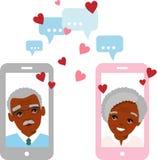 Ilustração bonito dos desenhos animados de povos afro-americanos idosos no amor usando o telefone e o Internet ilustração stock