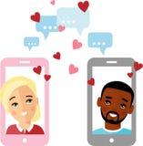 Ilustração bonito dos desenhos animados do homem afro-americano e da mulher europeia no amor em um telefone celular Imagem de Stock Royalty Free