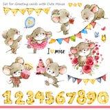 Ilustração bonito dos ratos Rato engraçado dos desenhos animados ilustração royalty free
