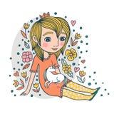 Ilustração bonito sobre a menina e o Unicorn Friendship ilustração stock