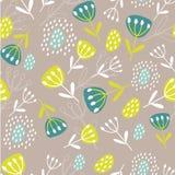 Ilustração botânica original E Teste padrão sem emenda com folhas e flores r ilustração do vetor