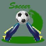 Ilustração, botas do futebol e bola abstratas no backgroun cinzento Ilustração do Vetor
