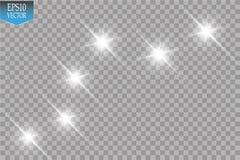 Ilustração branca da onda do brilho do vetor Partículas efervescentes da fuga branca da poeira de estrela isoladas no fundo trans ilustração do vetor