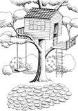 Ilustração branca da paisagem do preto da arte gráfica da casa na árvore Fotografia de Stock Royalty Free