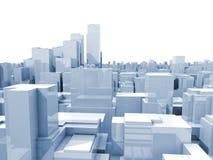 Ilustração branca digital abstrata da arquitetura da cidade 3d ilustração stock
