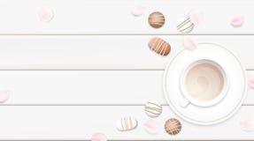 Ilustração branca pastel do vetor do fundo da manhã com copo e chocolate de café Fotos de Stock Royalty Free