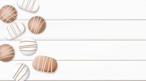 Ilustração branca pastel do vetor do fundo da manhã com copo e chocolate de café Imagens de Stock