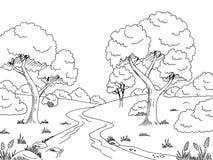 Ilustração branca preta gráfica do esboço da paisagem do rio da floresta Fotografia de Stock
