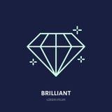 Ilustração brilhante de brilho Linha lisa ícone da joia do diamante, logotipo da loja da pedra de gema Jewels o sinal luxuoso dos ilustração stock