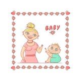 Ilustração brilhante do vetor isolada no fundo branco Uma criança encaracolado pequena de sorriso nova da mãe ou do baby-sitter c ilustração royalty free