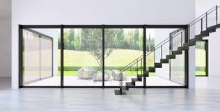 Ilustração brilhante moderna da rendição do apartamento 3D dos interiores Imagens de Stock Royalty Free