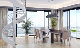 Ilustração brilhante moderna da rendição do apartamento 3D dos interiores Imagem de Stock