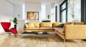 Ilustração brilhante moderna da rendição do apartamento 3D dos interiores ilustração stock