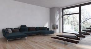 Ilustração brilhante moderna da rendição do apartamento 3D dos interiores Foto de Stock