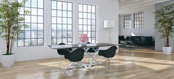 Ilustração brilhante moderna da rendição do apartamento 3D dos interiores Fotografia de Stock