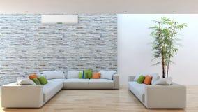 Ilustração brilhante moderna da rendição da sala 3D dos interiores ilustração royalty free