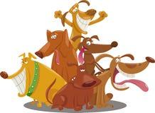 Ilustração brincalhão dos desenhos animados do grupo dos cães Imagens de Stock Royalty Free