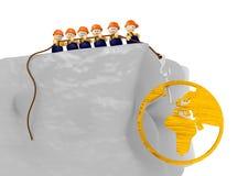 Ilustração cómica de madeira do mundo 3d com caráteres 3d bonitos Fotos de Stock