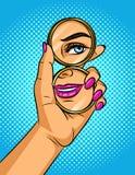 A ilustração cômica do estilo do pop art da cor do vetor de uma menina olha em um espelho ilustração do vetor