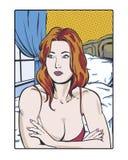 Ilustração cômica do pop art de um ruivo melancólico no pensamento romântico Foto de Stock Royalty Free