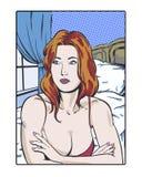 Ilustração cômica do pop art de uma jovem mulher redheaded melancólica no pensamento romântico Foto de Stock Royalty Free