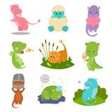 Ilustração cômica do vetor do monstro de Dino da mitologia bonito do réptil do personagem de banda desenhada dos animais da fanta Fotos de Stock