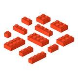 Ilustração cúbica do vetor da construção pré-escolar isométrica dos blocos 3d do construtor ilustração stock