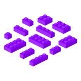 Ilustração cúbica do vetor da construção pré-escolar isométrica dos blocos 3d do construtor ilustração do vetor