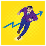 Ilustração cômica do estilo do pop art do homem de negócios ilustração royalty free