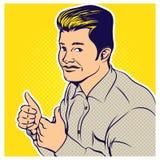Ilustração cômica do estilo do pop art do homem de negócios ilustração do vetor