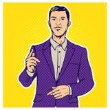 Ilustração cômica do estilo do pop art retro do homem de negócios ilustração do vetor