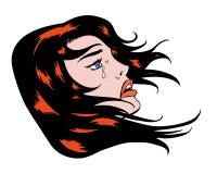 Ilustração cômica do pop art da beleza com cabelo de fluxo Fotos de Stock Royalty Free