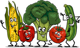 Ilustração cômica dos desenhos animados do grupo dos vegetais