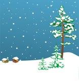 Ilustração - cartão do inverno com abetos Fotografia de Stock