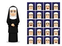Ilustração católica do vetor de Cartoon Emotion Faces da freira da religião ilustração do vetor