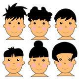 Ilustração caucasiano bonito do vetor de 6 miúdos Fotografia de Stock