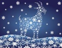 Ilustração chinesa do vetor de 2014 flocos de neve da cabra Fotos de Stock Royalty Free