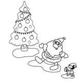A ilustração, coloração, preto e branco, árvore de Natal, Santa Claus, ajudante pequeno, carrega um presente sob a árvore Foto de Stock