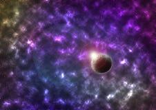 Ilustração colorida brilhante do cosmos do vetor com planeta ilustração stock